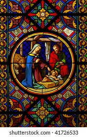 Christmas Cathedral stained glass window Jesus Maria Josef
