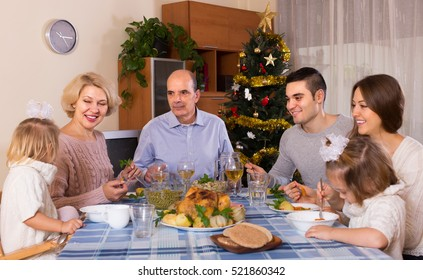 Christmas celebration in the bosom of family at home