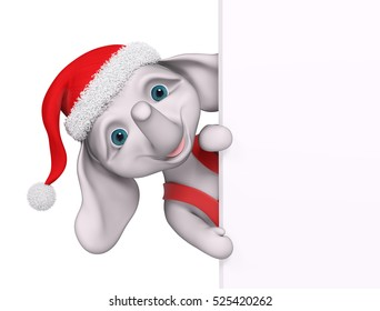 Christmas character cartoon elephant with poster isolated, 3d rendering