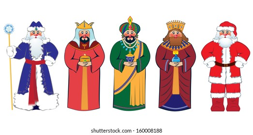 Christmas characters: Santa Claus, Three Kings and Russian Ded Moroz (Grandfather Frost)