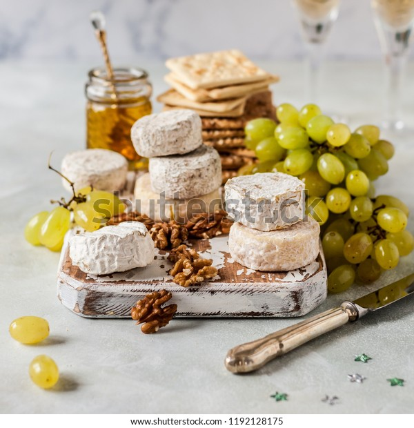 Christmas Cheese Platter.Christmas Cheese Platter Variety French Cheeses Stock Photo
