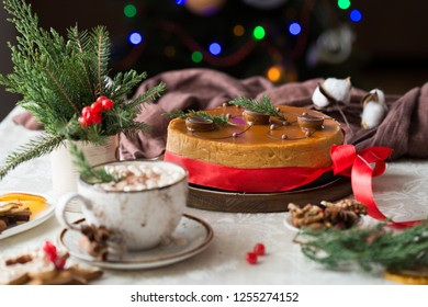 Christmas cheesecake traditional winter cake recipe with red ribbon