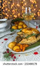 Christmas chicken dinner with roast vegetables