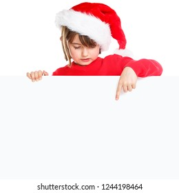 Christmas child kid girl Santa Claus pointing empty banner square copyspace isolated on white