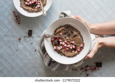 Christmas Chocolate Smoothie  Fitness Bowl with Frozen Berries