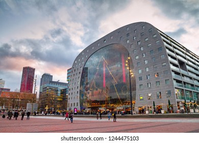 Christmas cityscape on the sunset - view of the Market Hall (Markthal) on the eve of the holiday, Rotterdam, Netherlands, December, 2017