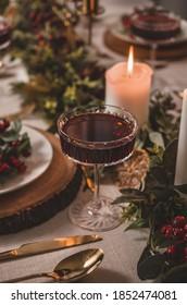 Christmas cocktail on the Christmas eve table