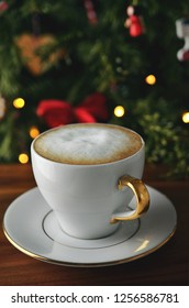 Christmas coffee with christmas tree background