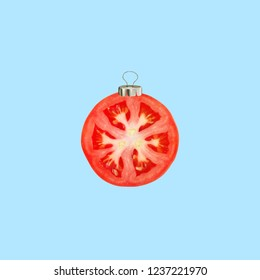 Christmas collage. Concept cherry tomato, Christmas decoration.