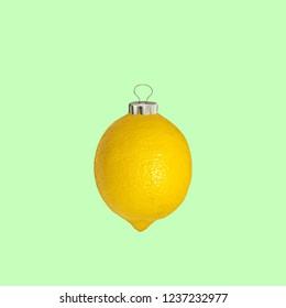 Christmas collage. Concept lemon Christmas decoration.