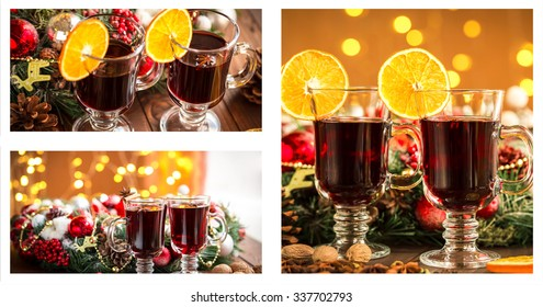 Christmas collage with photos of spruce, champagne, mulled wine, orange, bokeh and decorations