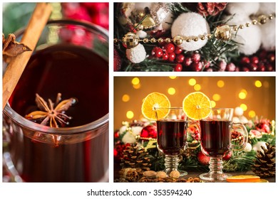 Christmas collage with photos of spruce, champagne, mulled wine, decor, bokeh and decorations