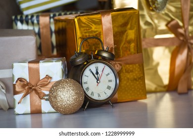 Christmas: colorful gift box with alarm clock - last minute christmas shopping.