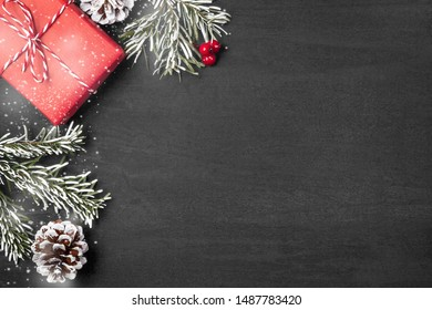Christmas composition, blank for design - gifts and decorations on a textured background, copy space, place for text