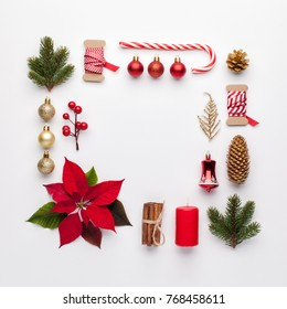 Christmas composition. Frame made of christmas decoration on white background. Flat lay, top view.