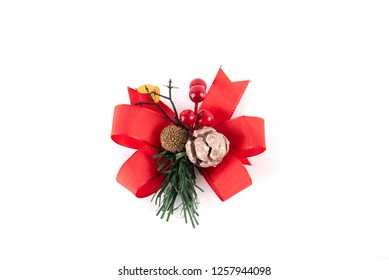 Christmas composition. Gifts, package ornaments, red decorations on white background. Christmas, winter, new year concept. Flat, top view.