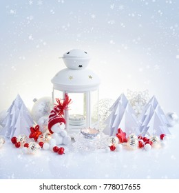 Christmas composition with lantern, snowman and paper spruces. Christmas or New Year greeting card.