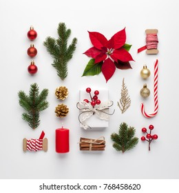 Christmas composition made of christmas decoration on white background. Flat lay, top view.