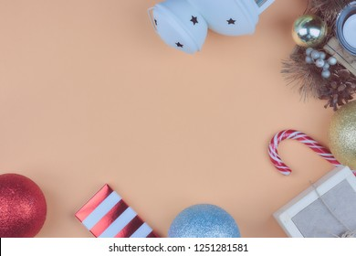 Christmas composition, New Year's card. Christmas tinsel, Christmas tree balls. view from above. copy space.