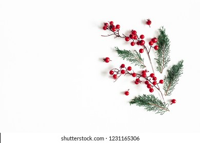 Christmas composition. Pattern made of christmas plants on white background. Flat lay, top view, copy space