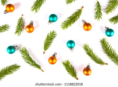 Christmas composition. Pattern made of christmas tree branches and decorations