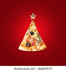 Christmas composition with a Christmas tree of pizza