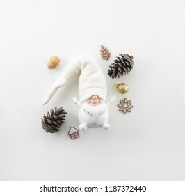 CHRISTMAS COMPOSITION, WHITE DWARF OBJECT, PINE CONE, CHRISTMAS DECORATION,  NUTS, NEW YEAR'S EVE, MINIMAL SQUARE IMAGE