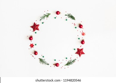 Christmas composition. Christmas wreath on white background. Flat lay, top view, copy space