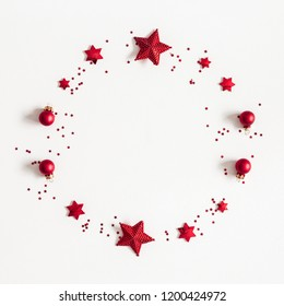 Christmas composition. Christmas wreath on white background. Flat lay, top view, copy space, square