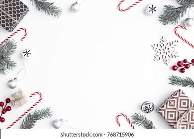 Christmas compositiondecorations over white background/ Flat lay, top view