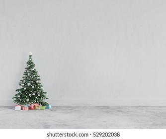 Christmas concept interior loft room , christmas tree , gift box in white room interior with concrete floor and wall.