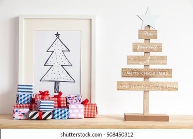 Christmas concept. Presents under christmas tree illustration.