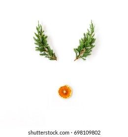 Christmas concept. Reindeer face made of evergreen branches and dried orange. Flat lay, top view