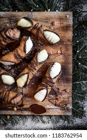 Christmas concept with traditional Sicilian cannoli,selective focus