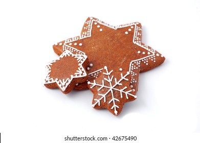 Christmas cookie (gingerbread) on white background