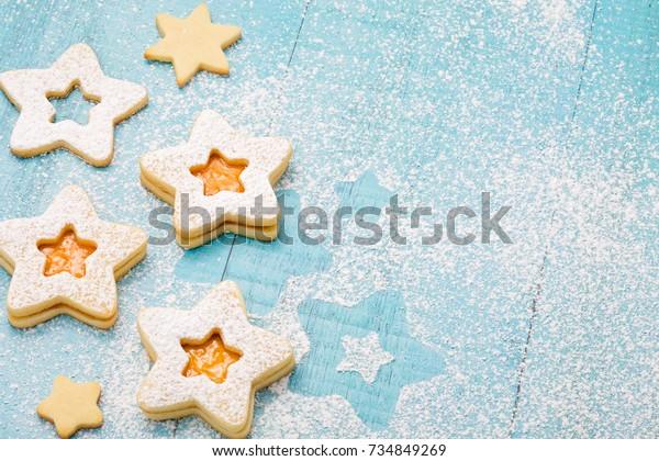 Christmas Cookies Apricot Jam Icing Sugar Stock Photo Edit Now