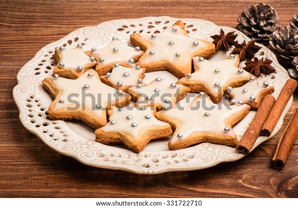 Christmas Cookies Cinnamon Anise On Plate Stock Photo Edit Now