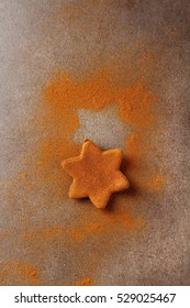 Christmas cookies with cinnamon. Light gray background
