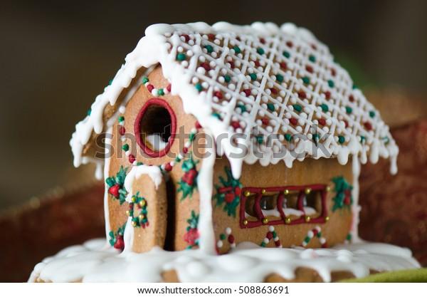 Christmas Cookies Gingerbread House Closeup Happy Stock Photo Edit