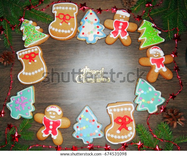 Christmas Cookies Gingerbread Traditional Food On Stock Photo Edit