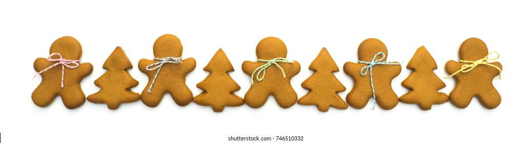 Christmas cookies isolated on white background. Christmas baking. Making gingerbread christmas cookies. Christmas concept.