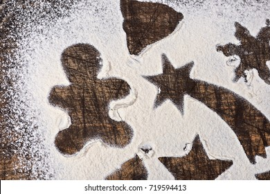 christmas cookies made from flour on a plate isolated on a white background