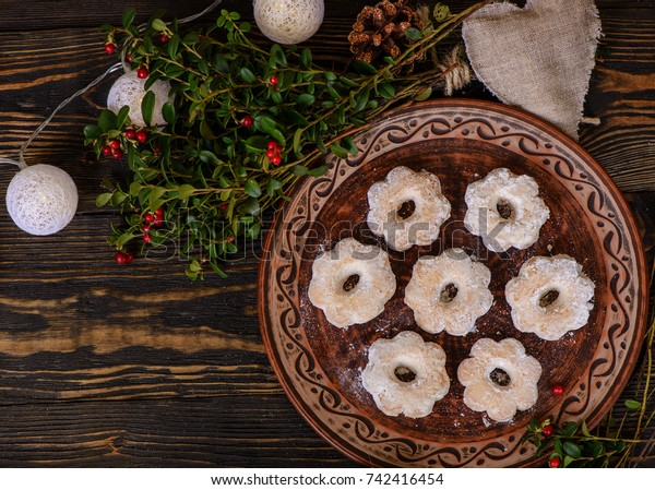 Christmas Cookies Mexican Wedding Cookies Flower Stock Photo Edit