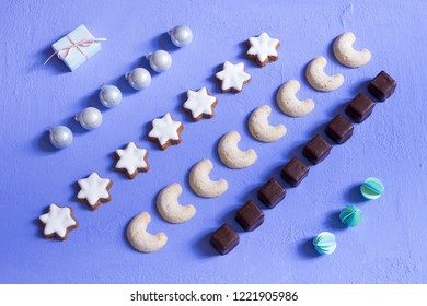 Christmas cookies on blue background
