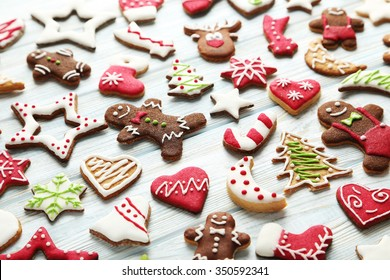 Christmas cookies on a blue wooden table