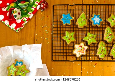 Christmas Cookies on cooling rack with goodies