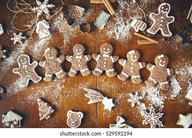 Christmas cookies on a dark table, top view
