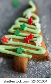 Christmas cookies on a gray background (macro)