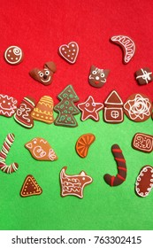 Christmas cookies on green and red background.