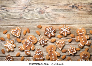 christmas cookies on old wooden boards